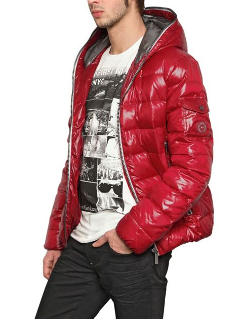Calvin Klein Shiny Down Jacket in Red for Men - Lyst