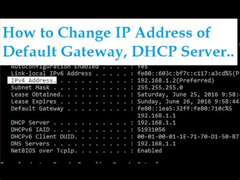 How to change IP Address of Default Gateway, DHCP Server