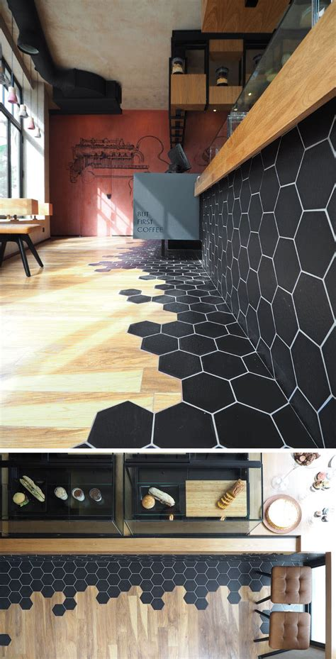 Hexagon Tiles Transition Into Wood Flooring Inside This
