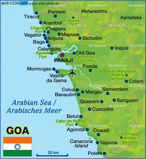 Map of Goa (State / Section in India) | Welt-Atlas