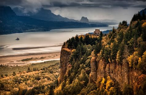 Columbia River Gorge river mountain forest autumn