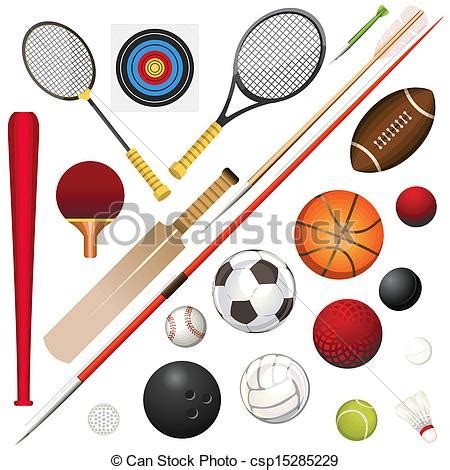 A vector illustration of various sports equipment vector