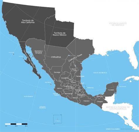 Map of Mexico in 1824 after gaining independence from