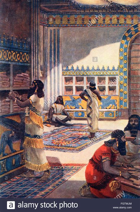 The famous library of Ashurbanipal in the royal palace at
