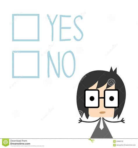Vector Businessman Has To Decide Yes Or No, Illustration