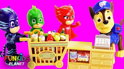 PJ Masks Goes Shopping with Puppy Dog Pals & Paw Patrol