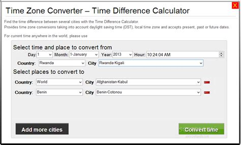 Download Time Zone Converter - Time Difference Calculator