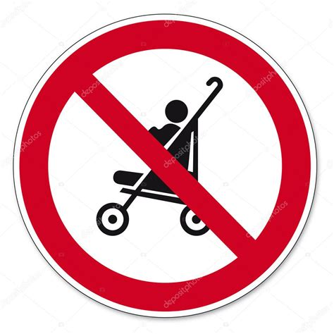 Prohibition signs BGV icon pictogram Strollers allowed on